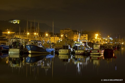Series of photographies of Cherbourg by night