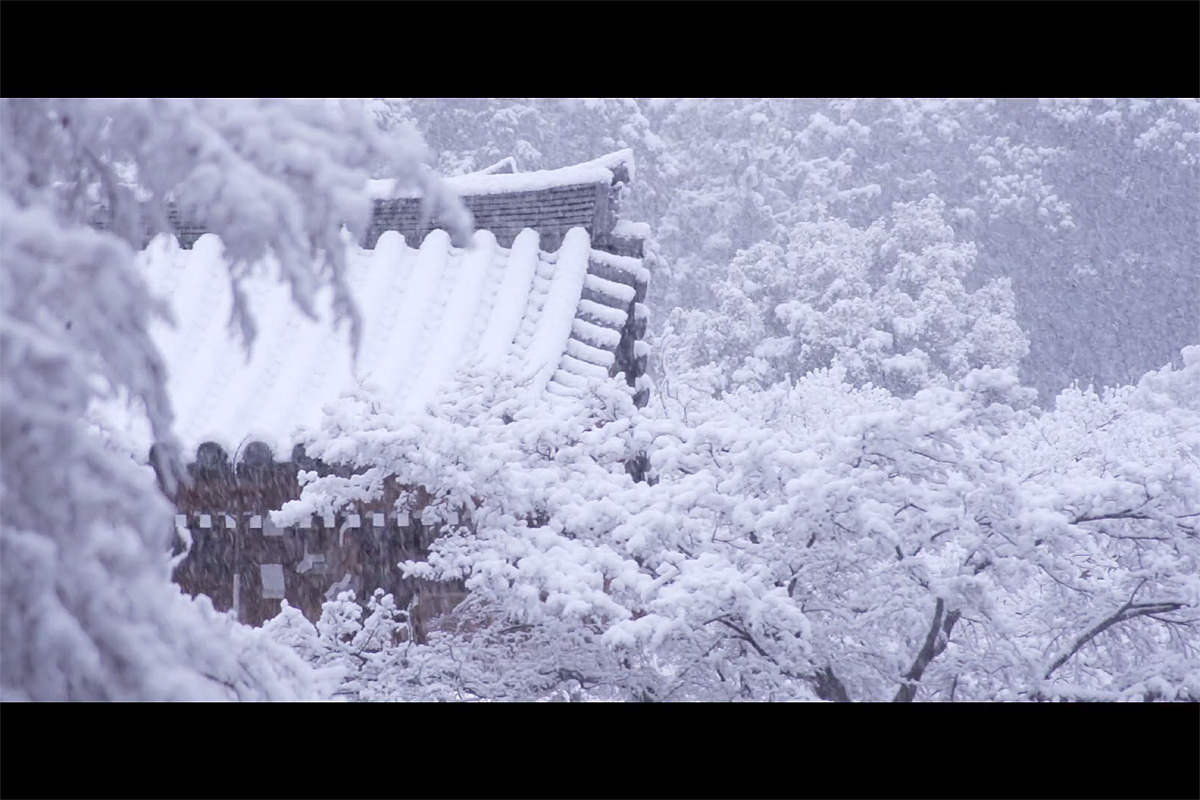 snow in japanese temple