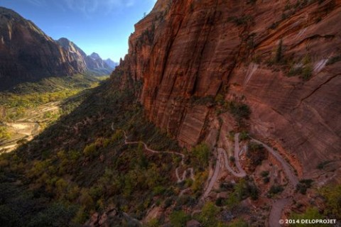 Series of photographs of hiking in Zion National Park.