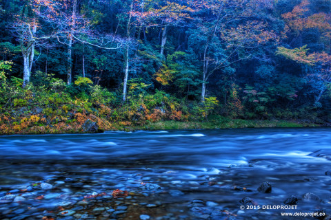 Photographies along the river, in autumn, Japan