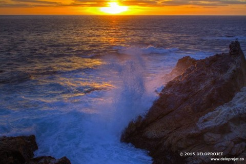 Sea and sunset at Point Lobos,