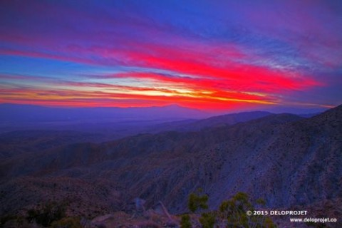 Keys View sunset in Joshua tree national park