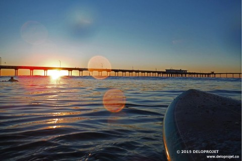 Sunset at Oceanbeach San Diego from my surfboard