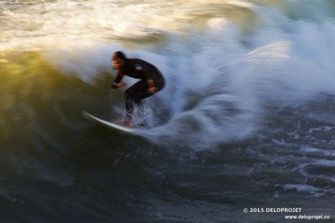 Photographs of surf at Crystal Pier and Pacific Beach