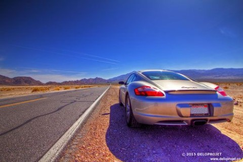 Porsche on the road in Death Valley