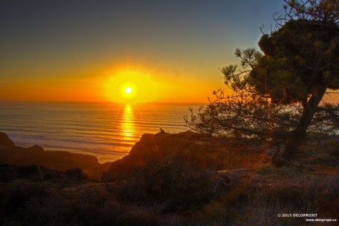sunset from the cliff of  Blacks beach San Diego