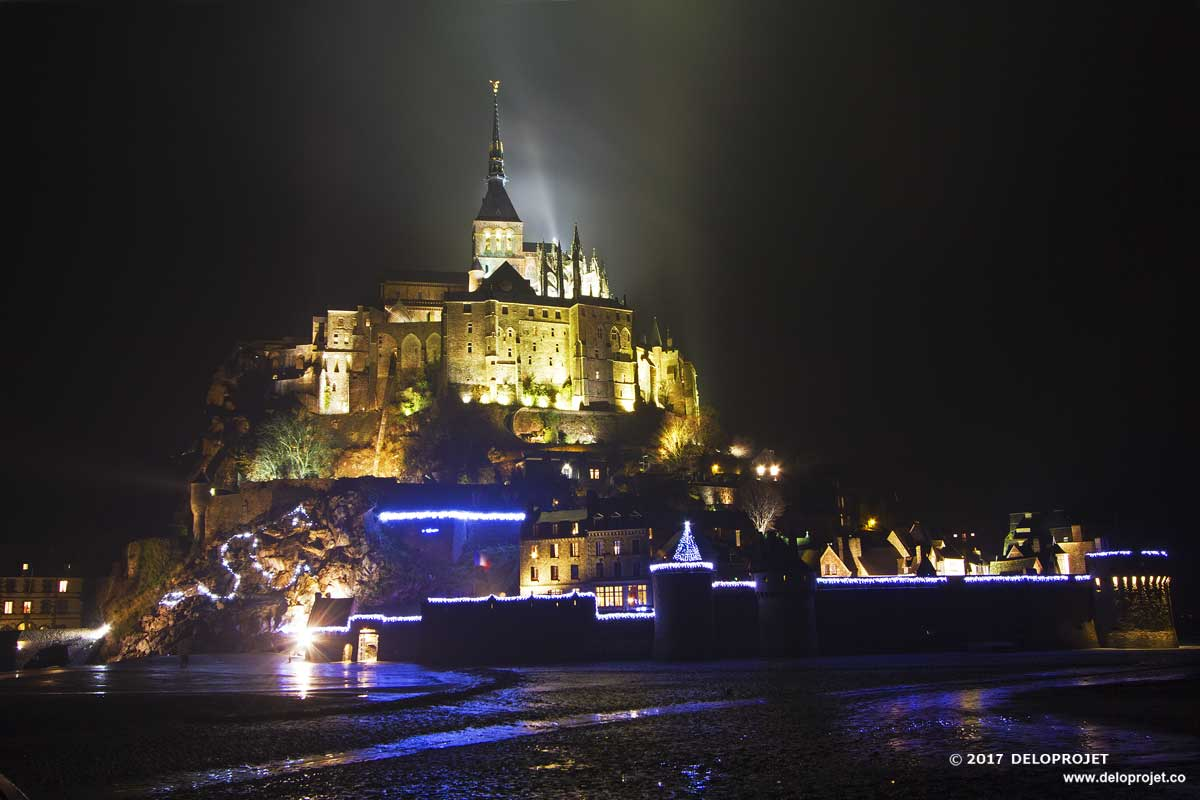 Mont Saint Michel with the illuminations of Christmas